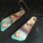 Golden Galaxy - enameled copper with vintage faux opal cabochon