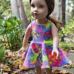 "Flouro Racer Back Skater Dress for Slim 46cm (18"") Dolls"