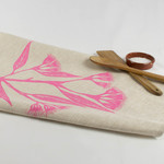 Linen Tea Towel with Gum Blossom Print in Pink