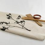 Linen Tea Towel with Kangaroo Paw Print in Black