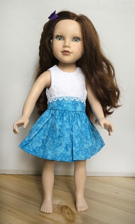 "Blue and White Summer Dress for Slim 46cm (18"") Doll"