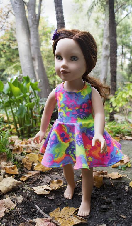"""Fluoro Racer Back Skater Dress for Slim 46cm (18"""") Dolls"""