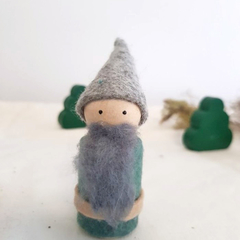 1 Wooden gnome peg doll