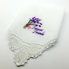 Forever Friends Embroidered Handkerchief, Hanky Gift, with Crocheted Lace Edge.