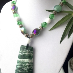 Natural Green Forest JASPER Pendant,  AGATE & Crystal Statement Necklace.