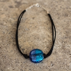 Two Toned Blue Czech Glass Choker Necklace