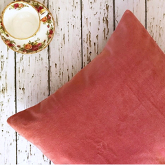 Cushion cover - pink velvet and linen. Size 16