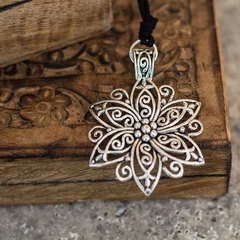 Silver Tibetan Flower Necklace