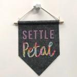 Settle Petal Floral - Merino Wool Felt Pennant Flag / Wall Hanging / Banner