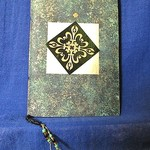 Green and Gold Notebook with Green Hand Made Paper and Beading