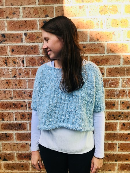 Knitted Swing Top in Speckled Blue