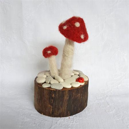 Alpaca fibre art needle felted mushroom