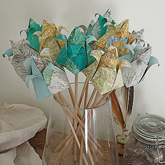 Vintage Paper Tulips - Maps