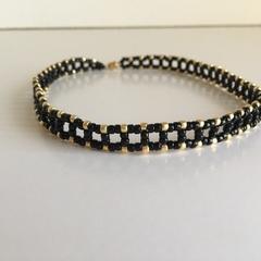 Black & Gold Woven Bead Choker