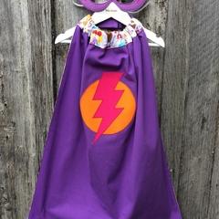 ~ Girls Basic Superhero Set ~ MADE TO ORDER ~ Mask & Cape ~
