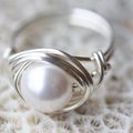 Sterling Silver Wire Wrap Ring Swarovski Crystalised Pearl Ivory