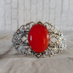 Silver bangle with brilliant red dragon vein gemstone, cuff bangle.
