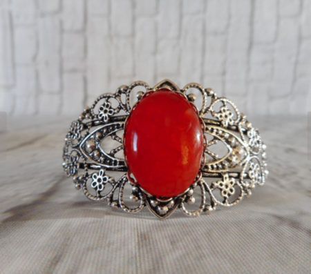 Silver bangle with brilliant red dragon vein gemstone, cuff bangle.