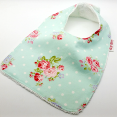 Baby Bib, Pretty Roses on Aqua Cotton Fabric, Bamboo Toweling Snap Fastened.