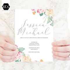 Wedding Invitation/Stationery Editable Templates - DIY - Spring Flowers