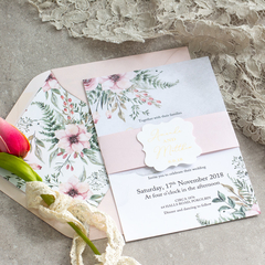 x10 Fall In Love - Dusky Pink Invitations.