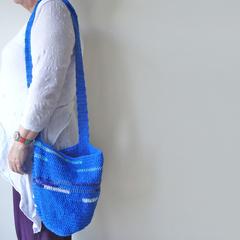 Blue Crochet market tote
