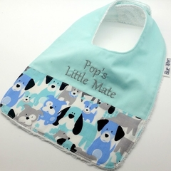 Bib - Pop's Little Mate, Cute Puppy Fabric, Bamboo Toweling, Snap Fastened.