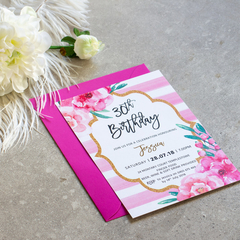 x10 Pretty In Pink - Birthday Party Invitation