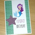 Girls Happy Birthday card - Mermaid