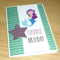 Girls Happy Birthday card - Mermaid