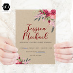 Wedding Invitation/Stationery Editable Templates - DIY - Boho Flowers