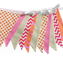 Hot Pink Chevron, Orange Dots and Gold Flag Bunting. Neon Brights Party Decor