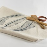 Linen Tea Towel with Three Feather Print in Navy
