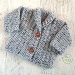 Light Grey Chunky Hand Crocheted Baby Cardigan 3-6 months