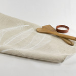 Linen Tea Towel with Three Feather Print in White