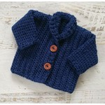Navy Blue Chunky Hand Crocheted Baby Cardigan 3-6 months
