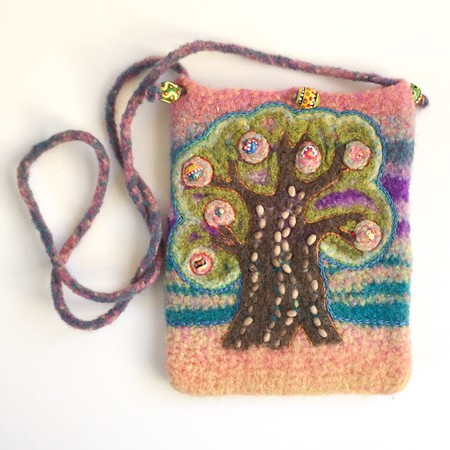 Embellished felt crossbody tree of life bag. Tablet bag. 