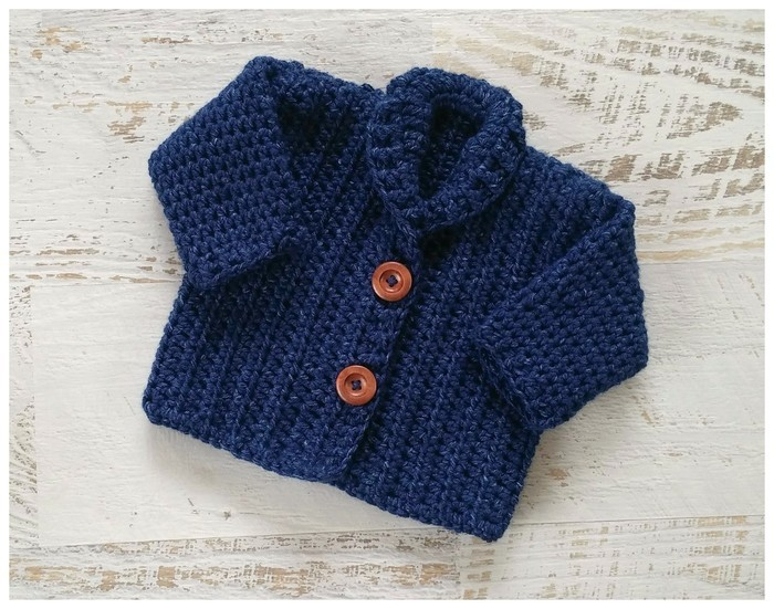 Navy Blue Chunky Hand Crocheted Baby Cardigan 3 6 Months Kezkidz