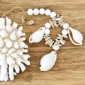 Cowrie Shell Garland Wood Bead Boho Coastal Hamptons Decor Eco friendly