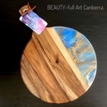 Blue and Gold Acacia Wood and  Resin Serving Board, Cheeseboard.