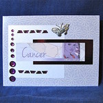 Cancer Girl on Mauve Floral Birthday Card with Silver Butterfly