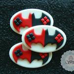 12 x Edible fondant Harley Quinn inspired bat symbol cupcake toppers