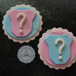 12 x Edible Fondant Gender Reveal Baby shower Onesies cupcake toppers