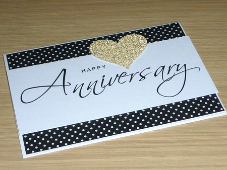 Happy Anniversary Card - black and gold