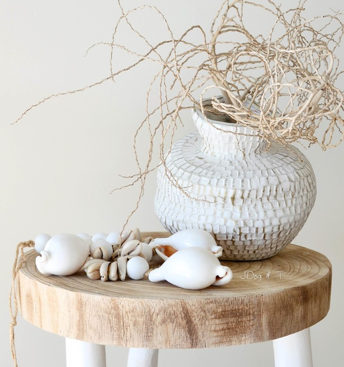 Unique Beaded Periwinkle Seashell Coloring Page: Cowrie Shell Garland Wood Bead Boho Coastal Hamptons Decor
