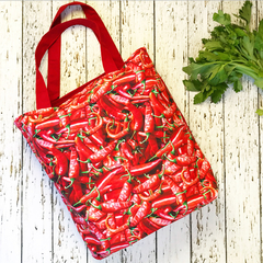 Reusable tote bag - hot chilli and bright red grocery shopping bag FREE SHIPPING