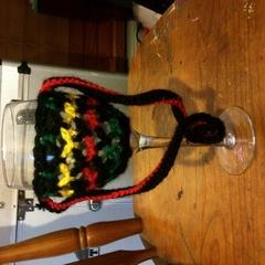 Crocheted Wine Glass Lanyard Reggae Colors