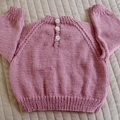 Size - 12 months: Girls hand knitted cardigan in musky pink by CuddleCorner