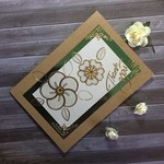 'Thank You' Kraft Card with Ivory, Green and Gold