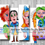 Bookmarks - Hand drawn Mixed Media Bookmarks - Alice Wonderland and more.